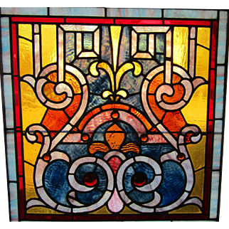 Square Victorian Stained Glass Window