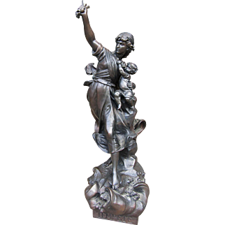 Antique Spelter Sculpture of Lady and Baby titled Tempete