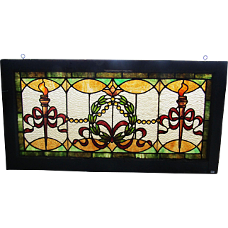 Victorian Stained Glass Window - Torch Design