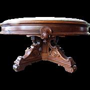 Victorian Renaissance walnut marble top Coffee Table