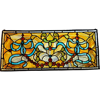 Victorian Stained Glass Transom Window with Jewels