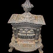 Antique Cast Iron Gothic Parlor Stove