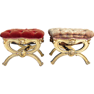 Rare pair of Victorian Gilded Footstools - Rococo Style