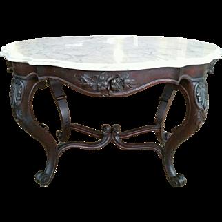 Victorian Rococo walnut Marble Top Table