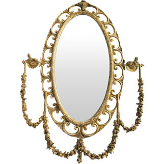 Fancy Antique Oval Hall Mirror w Sphinxes