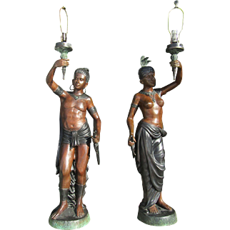 PR of 4 ft Figural Nubian Blackamoor Bronze Newel Post Lamps