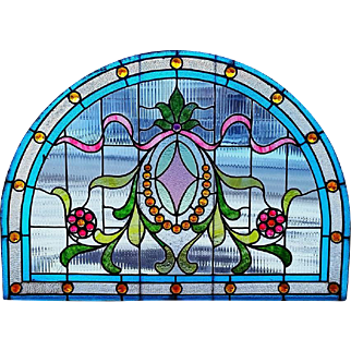 Arch Top Stained Glass Jeweled Window