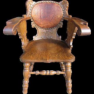 Victorian quartered oak Desk Chair