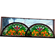 Pair of Antique Stained Glass Arch Windows