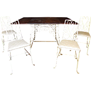 Wrought Iron Drop Leaf Table with 4 Chairs