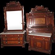 Victorian Aesthetic 3 piece Marble Top Bedroom Set