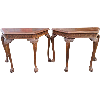Pair of Chinese Chippendale End Hall Tables