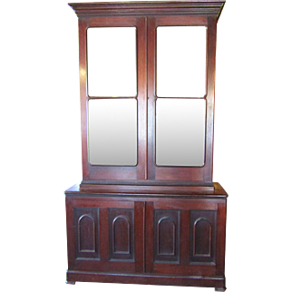 Early Victorian Step Back Walnut Bookcase