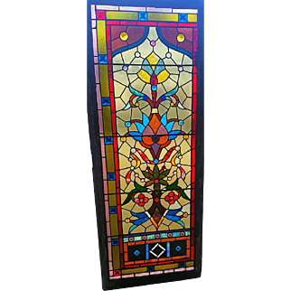 GREAT Large size Stained Glass Window with Jewels