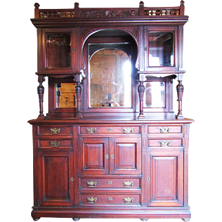 Great Cherry Eastlake style Sideboard with Cabinet Tops