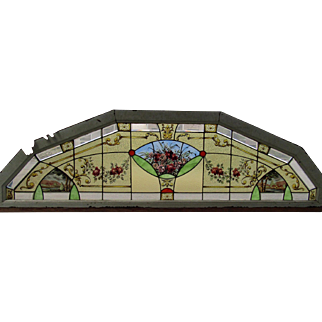 Great 19th C Arched Stained Glass Window with hanp painted detail