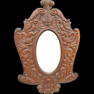 HORNER Quartersawn Oak Figural Hall Mirror