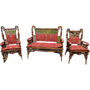 3 Piece Victorian Natural Finish Wicker Set