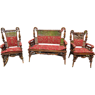 3 Piece Victorian Natural Finish Wicker Set