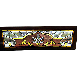 19th C Stained and Beveled Glass Transom Window