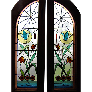 Pr. of Stained Glass Windows w Spider Webs and Catstails