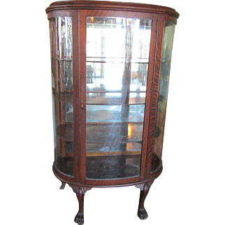 Victorian Oak Bow Front China Cabinet