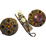3 Piece Lot of Czech Glass, Brass Filigree Art Deco Compacts and Address Book