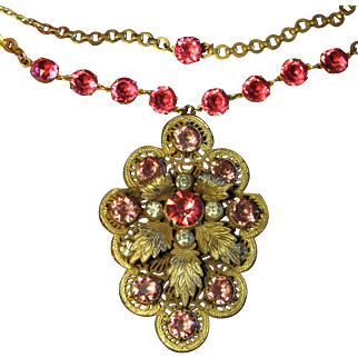 Huge Pink Art Deco Style Czech Glass and Cast Pot Metal Filigree and Brass Leaf Necklace