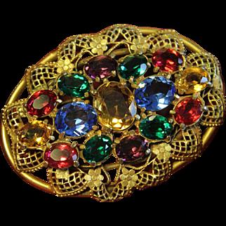 Art Deco Gold Plated Multicolor Czech Glass Brooch