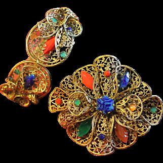 Art Deco Dimensional Filigree and Czech Glass Bracelet and Brooch Demi-Parure