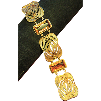 Signed Gold Plated Art Deco Quilled Czech Glass Bracelet