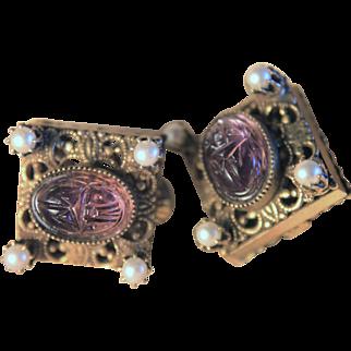 Egyptian Revival Art Deco Purple Carved Czech Glass Scarab Earrings