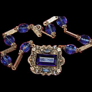 Blue Czech Glass Silver Plated Brass Art Deco Enamel Flower Necklace