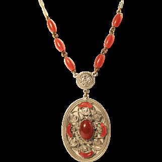 Art Deco Carnelian Colored Czech Glass Rhodium Plated Filigree Necklace