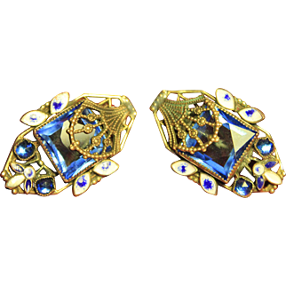 Blue Czech Glass and Brass Filigree Art Deco Screwback Earrings