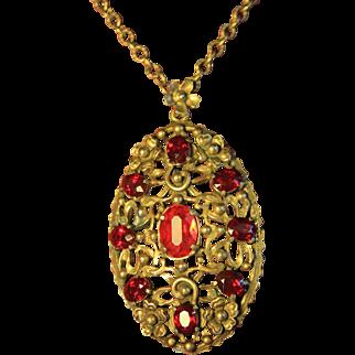 Siam Red Czech Glass Art Nouveau Floral Pot Metal Necklace