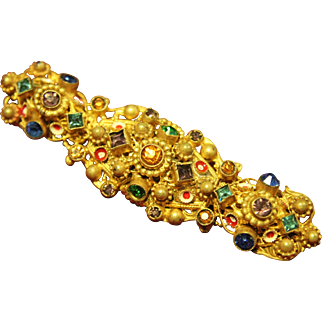 Gold Plated Austro-Hungarian Glass Filigree Bull's Eye Enamel Brooch