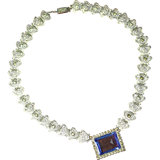 Art Deco Rhodium Blue Czech Glass Bookchain Link Necklace