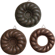 Set of 3 French antique copper moulds
