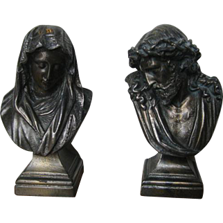 Pair of small Jesus and Mary spelter statues