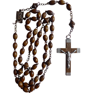 French vintage wooden rosary dated 1958