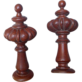 Pair of French antique wooden curtain tie backs