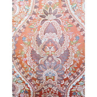 """Circa 1710 - 1730 French or Italian Silk Brocaded Lampas in a """"Lace pattern"""""""