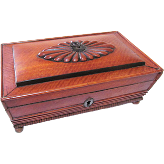 French Regency Palais Royal Regency Satinwood Sewing Box with Tools