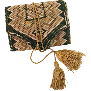 """New England """"Flame stitch"""" Sewing Case, 18th Century"""