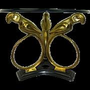 Stylized Art Deco Revival Brass Parrot Table c.1970s