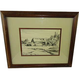Paul Lauritz Drawing of Old Homestead Oregon