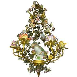 Bronze Chandelier with Porcelain Samson Parrot and Flowers