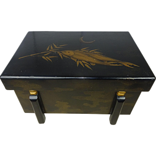 Black Lacquer Ceremonial Box / Trunk Table Mid Century Modern Asian
