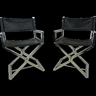 Chrome Directors Chairs by Robert Kjer Jakobsen a Pair